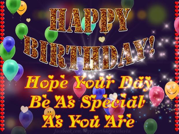 Beautiful Happy Birthday Words in Glitter greeting