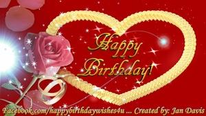Rose & Heart Happy Birthday Wishes