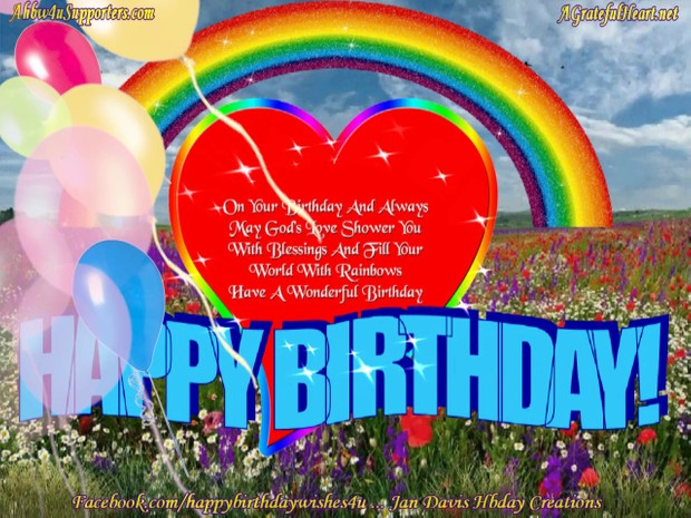 Rainbow Heart Hbday Wishes