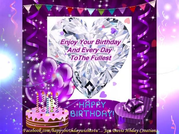 Purple Sparkle hbd wishes