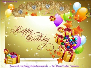 Golden Hearts Hbday Wishes