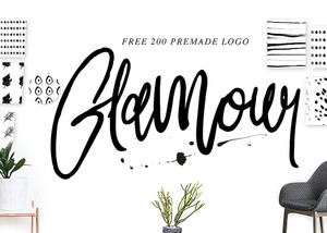 Glamour handwritten + 100 premade logo