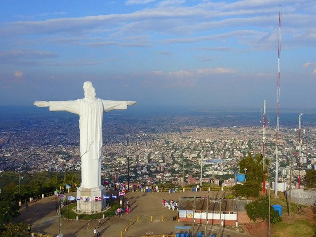 breathless drone shot of cristo rey cali colombia