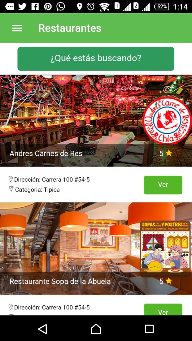 Ionic 2 Theme Restaurant Search
