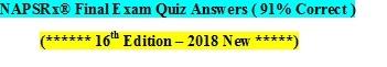 NAPSRx® Exam Answers (******* 91% Correct *******)