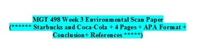 MGT 498 Week 3 Individual Assignment Environmental Scan Paper