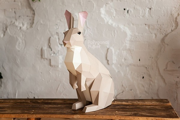 Rabbit L Digital Files for Papercraft PDF Template for Download