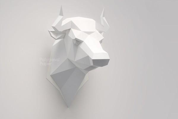 Bull Head: Digital Files for Papercraft (PDF,DXF)