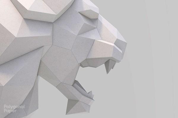 2D Roaring lion Head Template RUS/ENG