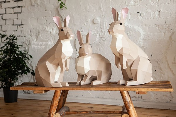 Rabbits Digital Files for Papercraft PDF, DXF Template for Download