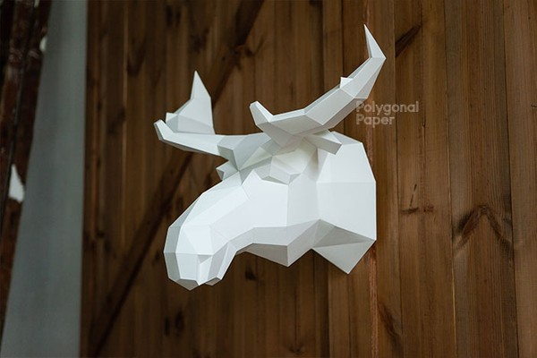 Digital files Moose Paper Head Template RUS/ENG Papercraft