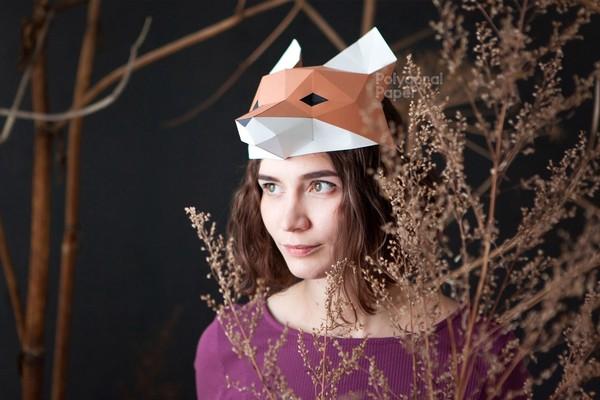 Fox Mask: Digital Files for Papercraft (PDF,DXF)