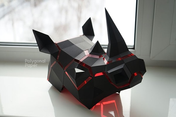 2D Rhino Mask Template (PDF) Papercraft by Polygonal Paper