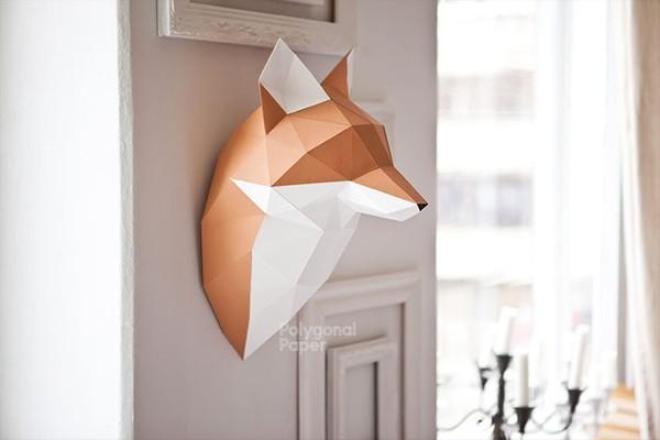 2D Paper Fox Head Template ENG/RUS/FRA