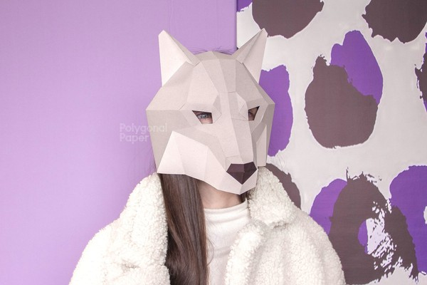 Wolf Mask: Digital Files for Papercraft PDF, DXF Template for Download