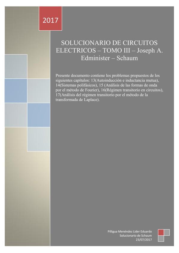 Solucionario de Circuitos Eléctricos de Joseph A. Edminister - TOMO III