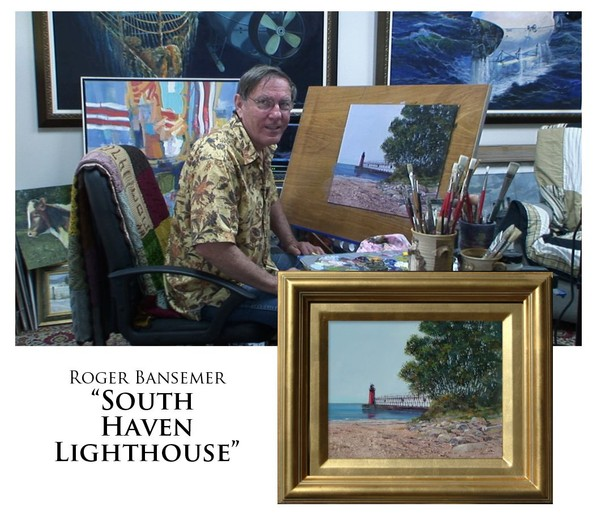 South Haven Lighthouse - Painting demonstration by Roger Bansemer