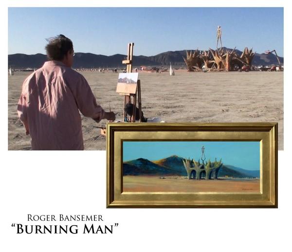 Burning Man - Painting demonstration by Roger Bansemer