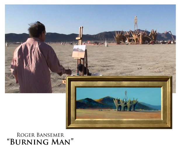 Burning Man - Painting demonstration by Roger Bansemer