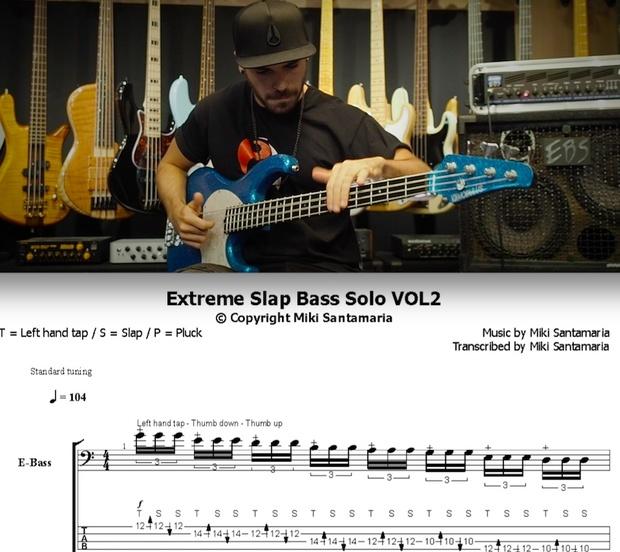 Extreme Slap Solo Vol2 [by Miki Santamaria] - Tabs & Backing Tracks