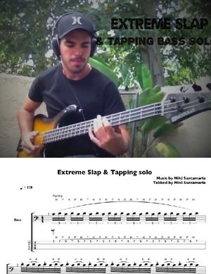 Extreme Slap & Tapping Solo [by Miki Santamaria] - Tabs & Backing Tracks