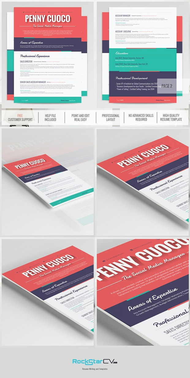 Creative Resume - Modern Resume Template - CV - Cover Letter - Professional  Resume - Word Resume