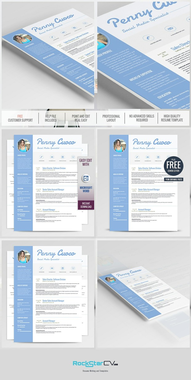 Creative Resume - Modern Resume Template - CV - Cover - Resume Templates