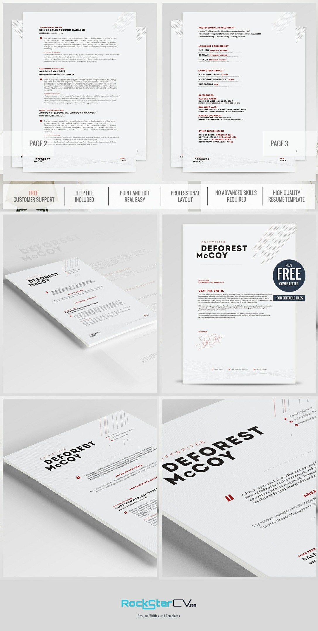Creative Resume - Modern Resume Template - CV - Cover Letter - Professional  Resume - Word Resume