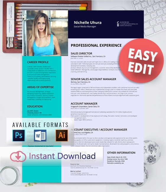 FREE EDIT - Resume Template - Professional design, creative resume template