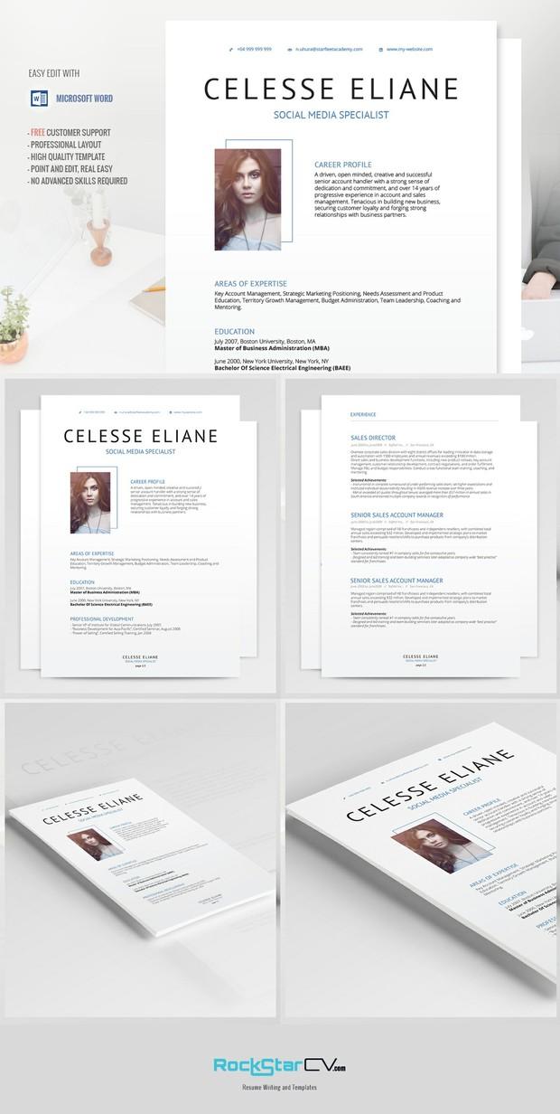 creative resume modern resume template cv cover letter professional resume word