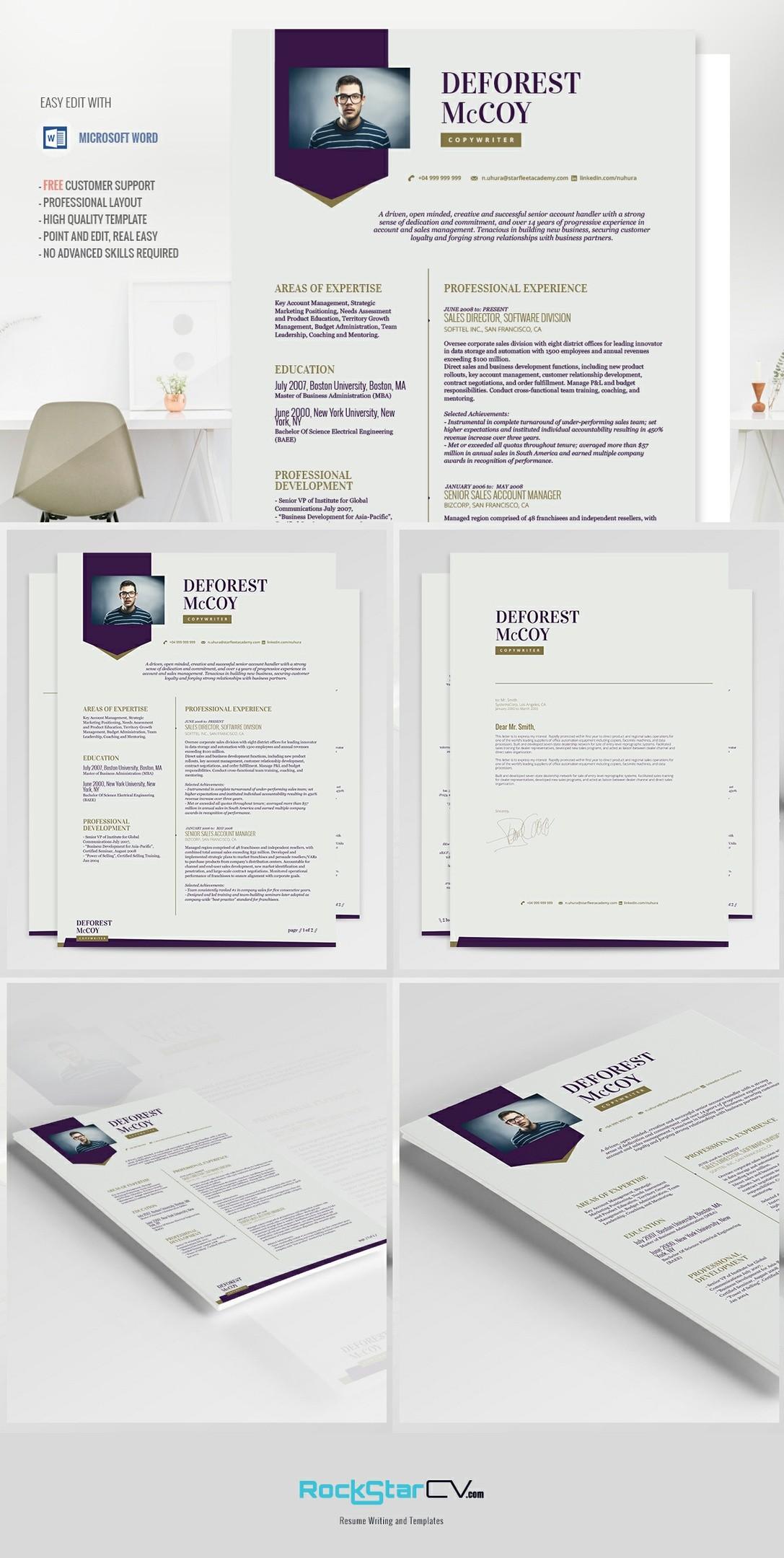 Creative Resume Modern Resume Template Cv Cover Letter Professional Resume Word Resume