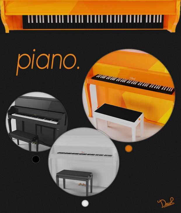 piano (with Vray materials : black/white/orange)C4D
