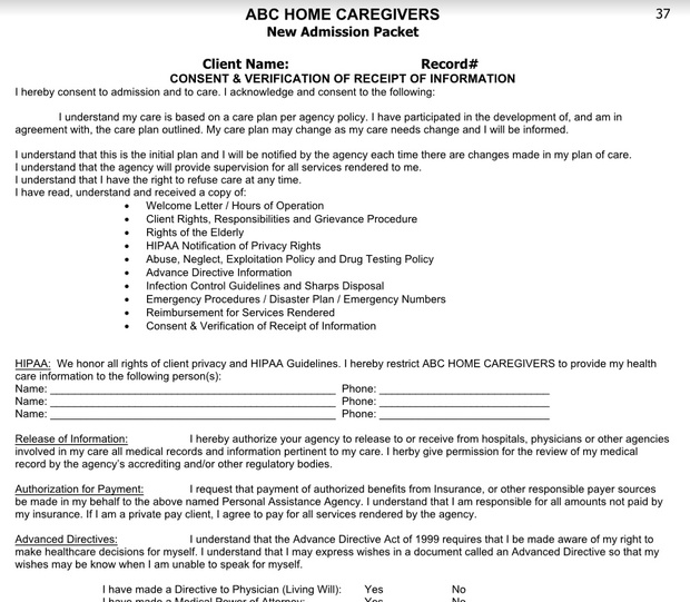 Home Health Admission Packet  (Download)