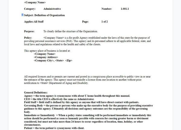Sample (PAS) Policies Package