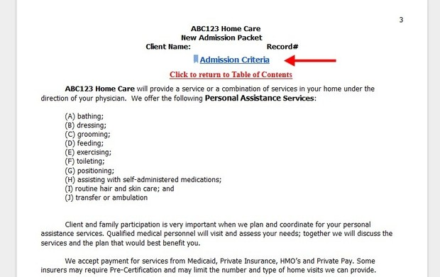 Personal Assistance Services Admission Packet  (Download)