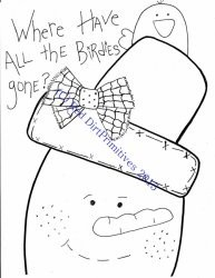 #8 Birdies Gone Snowman All line/stitcherys drawing ePattern