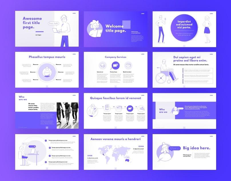 Purple Animated Line Illustration PPT Template