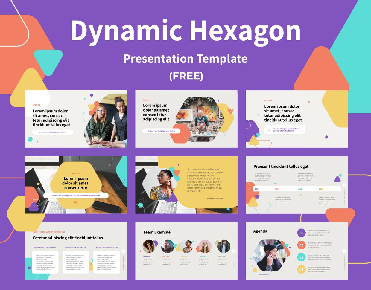 Dynamic Hexagon Shapes - PPT Template