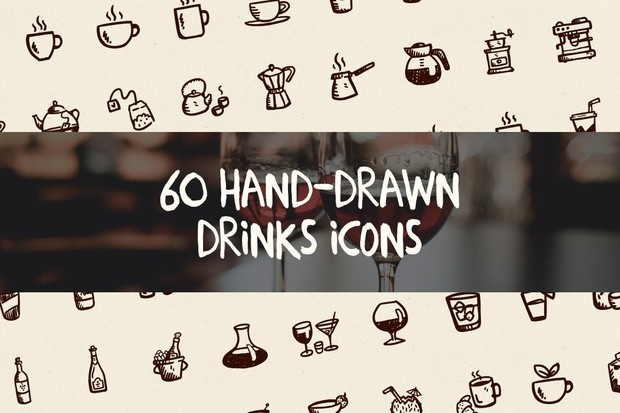 60 Hand-Drawn Drinks Icons