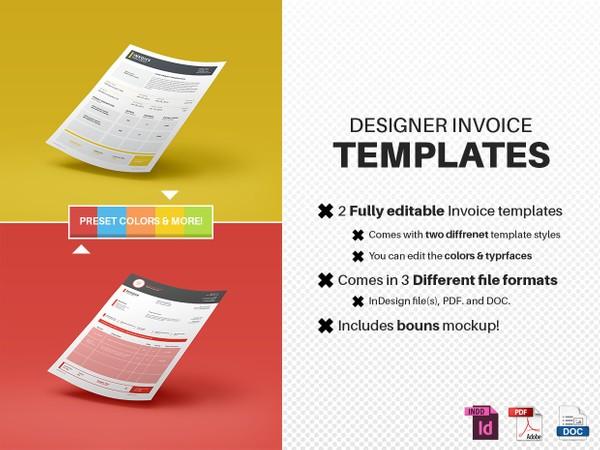 Designer Invoice templates (2x Styles)