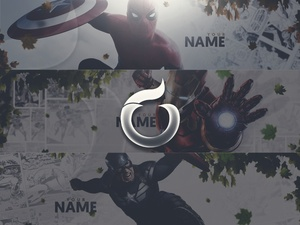 3 in 1 Marvel Themed HEADER TEMPLATES! (Spiderman, Captain America, Ironman)
