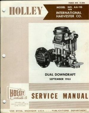 Holley Carburetor Model AA-1G Dual Downdraft 1955 Service Manual