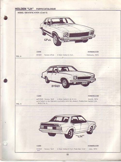 HOLDEN TORANA LH SLR5000 L34 PARTS CATALOG