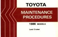 1986 Toyota Land Cruiser Maintenance Procedures Manuals