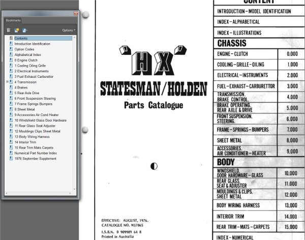 HOLDEN 1976 HX PARTS CATALOGUE BOOK MONARO GTS STATESMAN