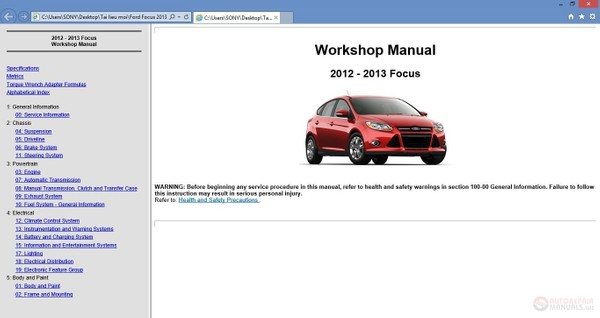 2012 – 2013 Ford Focus Workshop Repair Service Manual