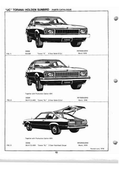 HOLDEN TORANA SUNBIRD UC PARTS CATALOG BOOK