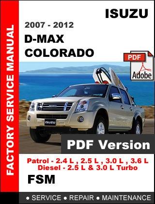 isuzu d max dmax colorado 2007 2012 factory oem serv rh sellfy com isuzu d'max repair manual free isuzu d'max workshop manual free
