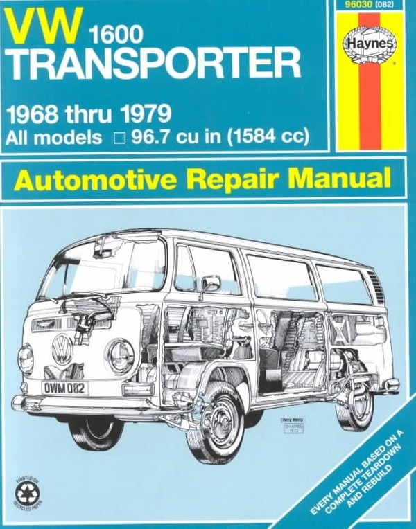 VW 1600 Transporter Repair Manual for 1968 thru 1979 all models with 96.7 cu in (1584 cc) engines