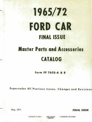 1965/72 FORD Master Parts and Accessories Cataogue